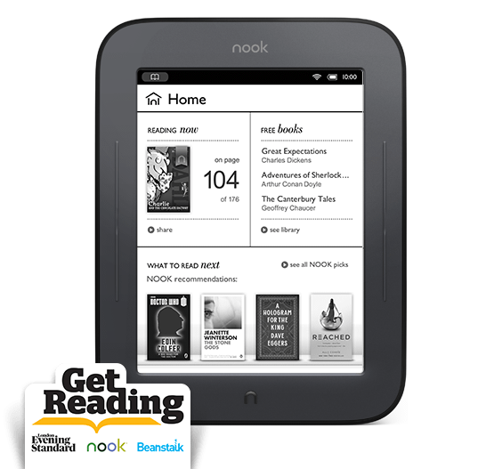Device image: NOOK Simple Touch and Get Reading Logo